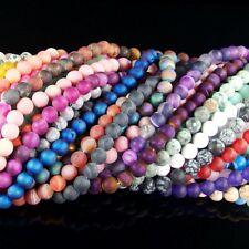 """natural matte gemstone spacer loose beads 4mm 6mm 8mm 10mm stone strand 15.5"""""""