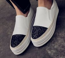 Sparkling Sequin Skate Slip-Ons Black or White  Leather Sneakers Loafers Shoes