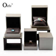 Oirlv Jewelry Packaging Boxes for Ring Necklace Bracelet Taupe Leatherette Paper