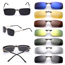 One Sunglasses Polarized Clip On Flip-up Driving Glasses Day Night Vision Lens
