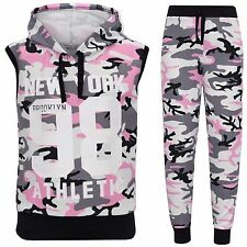 Girls Camouflage New York 98 Hooded Tracksuit Kids 2 Piece Jogging Set 7-13 Year