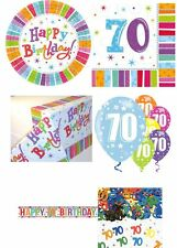 70th Birthday Party Pack Radiant Multicolour Plates Napkins Decorations Balloons