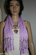 One Size Ladies Heart Pendant Polyester Jewellery Scarf  Necklace