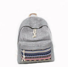 Casual Women Vintage National Style Canvas Backpack Students Fashion School Bag