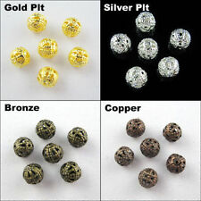 Hot Round Filigree Spacer Beads 4mm,6mm,8mm,10mm,12mm,14mm,16mm Gold,Silver Plt.