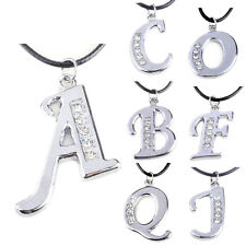 1 Pcs A-Z Fashion Necklace Jewelry Letter Pendant Women Silver Initial Crystal