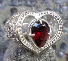 Size 9 (US) Garnet Solid Silver, 925 Bali Handcrafted Ring 26010
