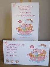 Personalised Christening Card & Gift Voucher/Money Wallet Set - pink or blue