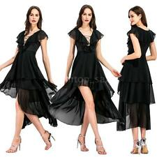 Women Asymmetrical Chiffon Dress V Neck Ruffles Lace Up Draped Swing Dress B0O8