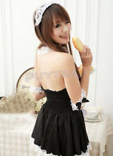 Sexy Girl's Maid Lolita Uniform Halloween Costume Dress Cosplay Outfit NBUS
