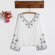 Women White Black Ethnic Embroidered Boho Hippie Peasant Top Loose Blouse