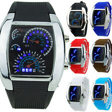 HOT SALE RPM Turbo Blue Flash LED Mens Sports Car Meter Dial Watch Finest