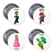 Personalised Super Mario, Luigi, Yoshi Pin Button Badge with Your Name 5 Sizes