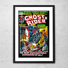 'Ghost Rider' - Framed Vintage Comic Book Man Cave Poster Print