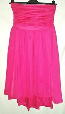 SOUTH BANDEAU DIPPED HEM PARTY DIPPY MIDI DRESS IN FUCHSIA PINK