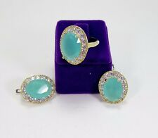 925 SILVER HANDMADE JEWELRY SUBLIME AQUA BLUE CHALCEDONY EARRINGS & RING SET