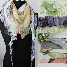 Women Embroidery Floral Tulle Lace Slub Cotton 2Layer RuffleTriangle Scarf Shawl