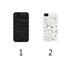 White Black 3D Sculpture Design Rose Flower Soft Silicone Cover Case For iPhone