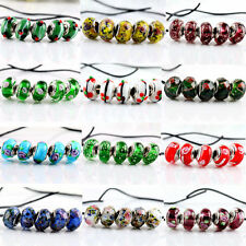 5Pcs SILVER MURANO GLASS BEAD Fit European Charm Bracelet Jewelry Making DIY