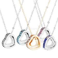 MagiDeal Fashion Double Heart Crystal Pendant Rhinestone Clavicle Chain Necklace