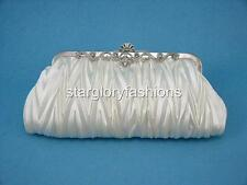 Off White Pleated Wedding/Evening Party Satin Clutch Designed Crystal Frame