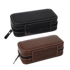 2 Slots Faux Leather Dual Watch Travel Case Display Collector Storage Zipper Box