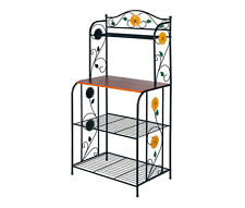 "4 Tiers Kitchen Metal Bakers Rack 49"" Storage Shelf Rack With Sunflower Pattern"