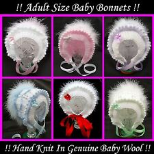 Adult Baby Vintage Style Bonnets : Hand Knitted, Adult Baby, Fancy Dress, Fun !!