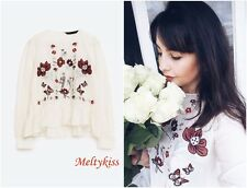 NWT ZARA WOMEN'S WHITE FLORAL MULBERRY SILK EMBROIDERED BLOUSE Sz-S BLOGGERS!!