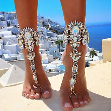 Barefoot Crystal Beach Sandal Bridal Wedding Diamante Anklet Foot Jewelry NEW