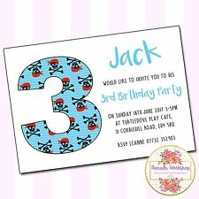 Personalised Boys Pirate Birthday Party A6 Invitations & Envelopes x10 Any Age