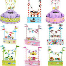 Paper Cake Bunting Cake Topper Flag Kids Birthday Party Baby Shower