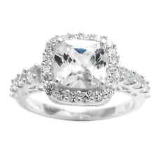 925 Sterling Silver Beautiful 3.0 Carat Cushion Cut CZ Engagement Ring Size 6-9