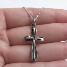 925 Sterling Silver Fancy Cross Charm with Necklace