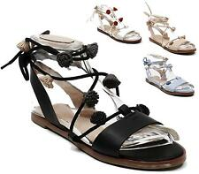 LADIES WOMENS FLAT LACE UP LEG STRAPPY GLADIATOR SUMMER FASHION SANDALS SHOES
