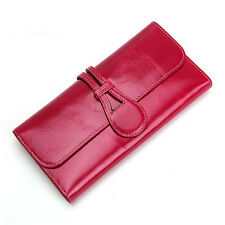 Women Genuine Leather Trifold Long Wallet Purse Money  Card Holder Clutch Bag
