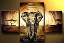 3 pcs Modern Elephant Wall Decor Hand-painted Art Oil Painting canvas (No Frame)