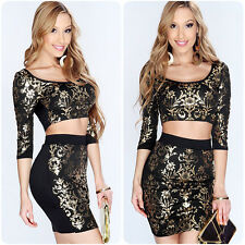 Two Piece Womens Crop Top Skirt Set Sexy Summer Bandage Bodycon Party Mini Dress