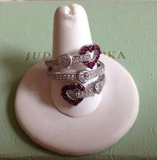 Judith Ripka Sterling Silver Ruby Heart 0.30 cttw Wrap Ring (Size 6)