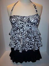Island Escape Size 6 or 8 Ruffle Tiered Tankini Skirted Brief Swimsuit Blk Wht
