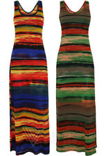 Womens Stripey Colour Maxi Dress Backless Strappy Sunset Boho Skirt Long Stretch