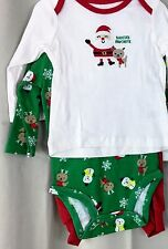 Santa Boy Infant 3 pc outfit Newborn 0/3, 3/6M  6/9M, shirt, onsie and red pant