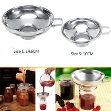 Stainless Steel Wide Mouth Canning Funnel Hopper Filter Home Kitchen Tools 2Size