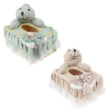 Wood Lace Tissue Box Cover Home Car Napkin Toilet Paper Holder Case Rabbit