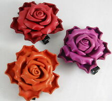 Rose HairClip Clasp Hairpin Genuine Leather Handcraft Brooch Purple Red Orange