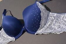 Victoria's Secret 32C Body By Victoria Blue Lace Bling Overlay Lined Demi $62