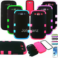 Triple Layer Tuff Hybrid Rubber Matte Case For Samsung Galaxy S3 III 9300 Cover