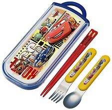 Trio set sliding chopsticks spoon fork set cars 17 Disney TCS 1 AM