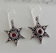 Gemstone Solid Silver, 925 Bali Handcrafted Sun Design Earring 39163