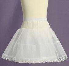 New White Flower Girls 1 Hoop Ring Petticoat Slip Skirt Size S M L XL
